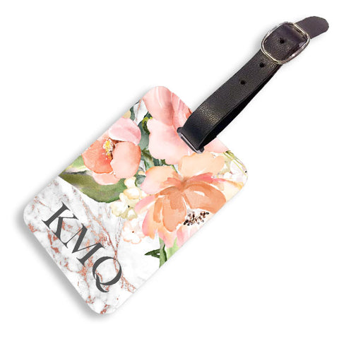 Grey Rose Floral Marble Luggage tag