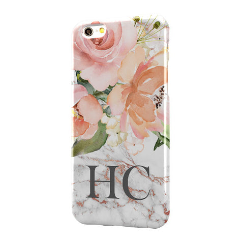 Grey Rose Gold Marble Floral Large Bottom