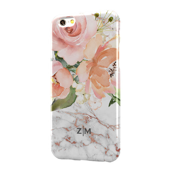 Grey Rose Gold Marble Floral Small Bottom