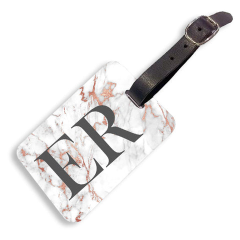 Grey Rose Marble Luggage tag
