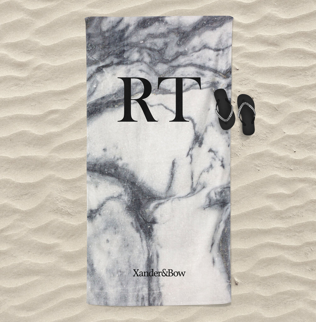 Grey Marble Monogrammed Beach Towel