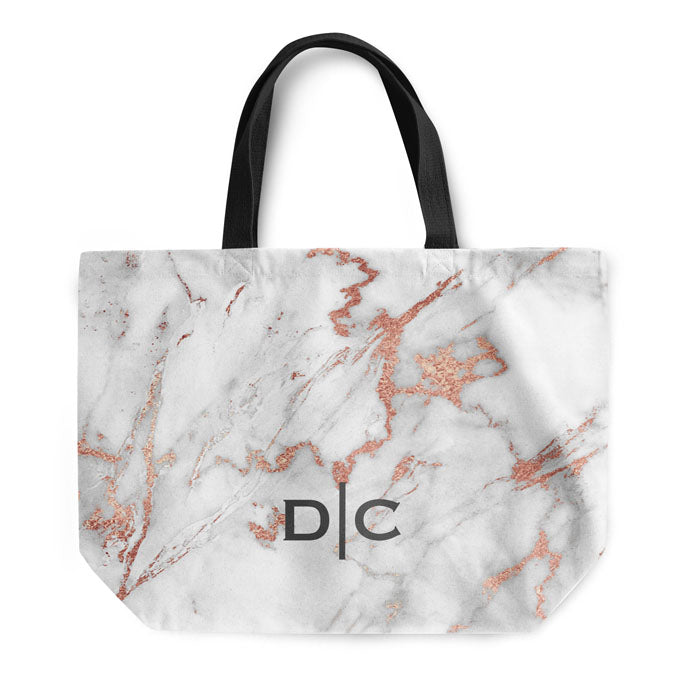 Grey Rose Marble Small Initials Tote