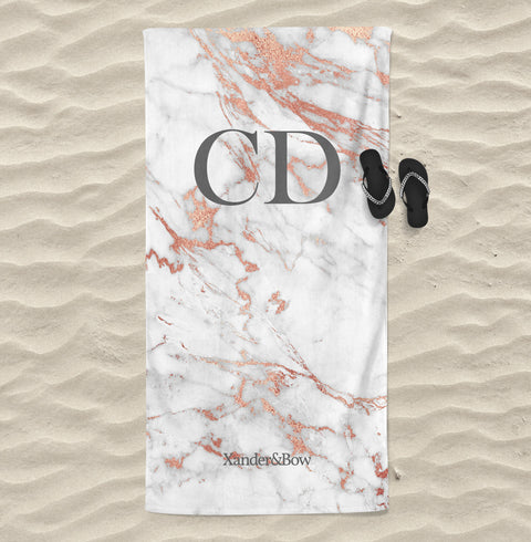 Grey Rose Marble Monogrammed Beach Towel