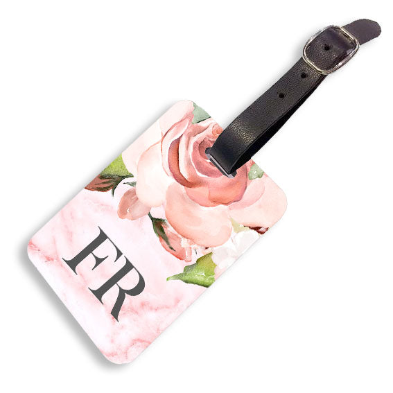 Pink Floral Marble Luggage tag