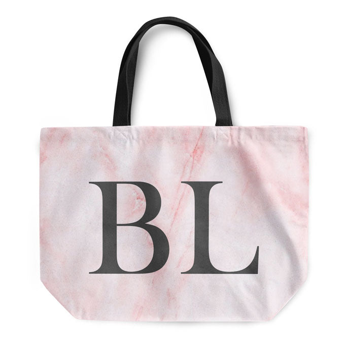Pink Marble Large Initials Tote