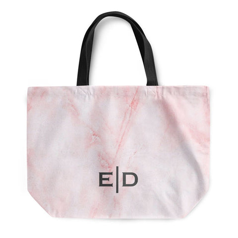 Pink Marble Small Initials Tote