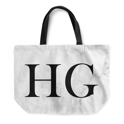 Soft White Marble Large Initials Tote