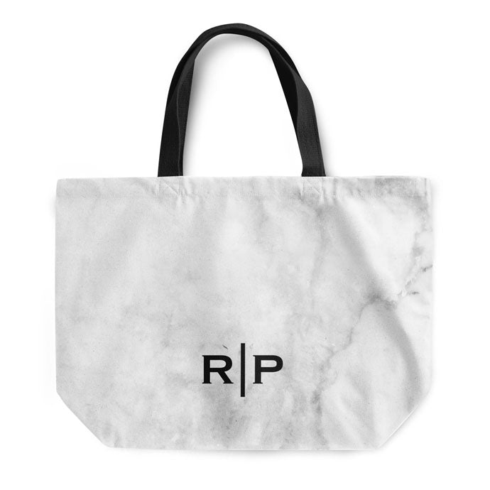 Soft White Marble Small Initials Tote