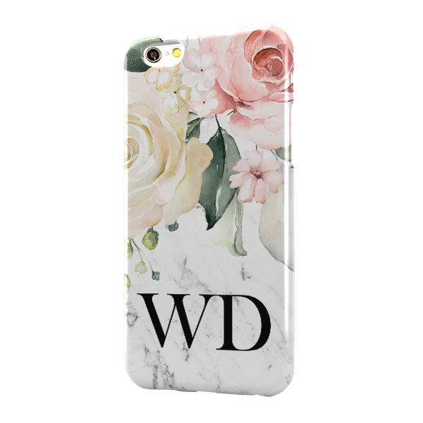 White Marble Floral Large Bottom