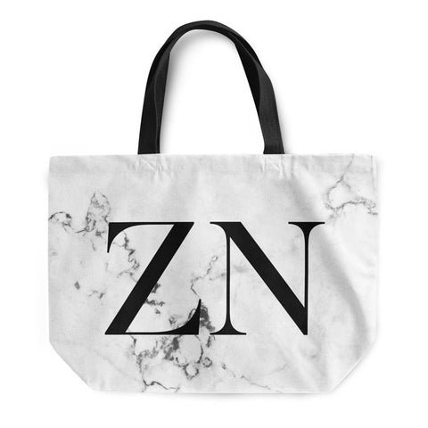 White Marble Large Initials Tote