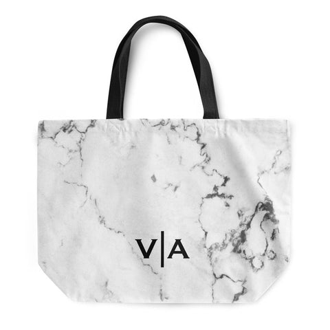 White Marble Small Initials Tote