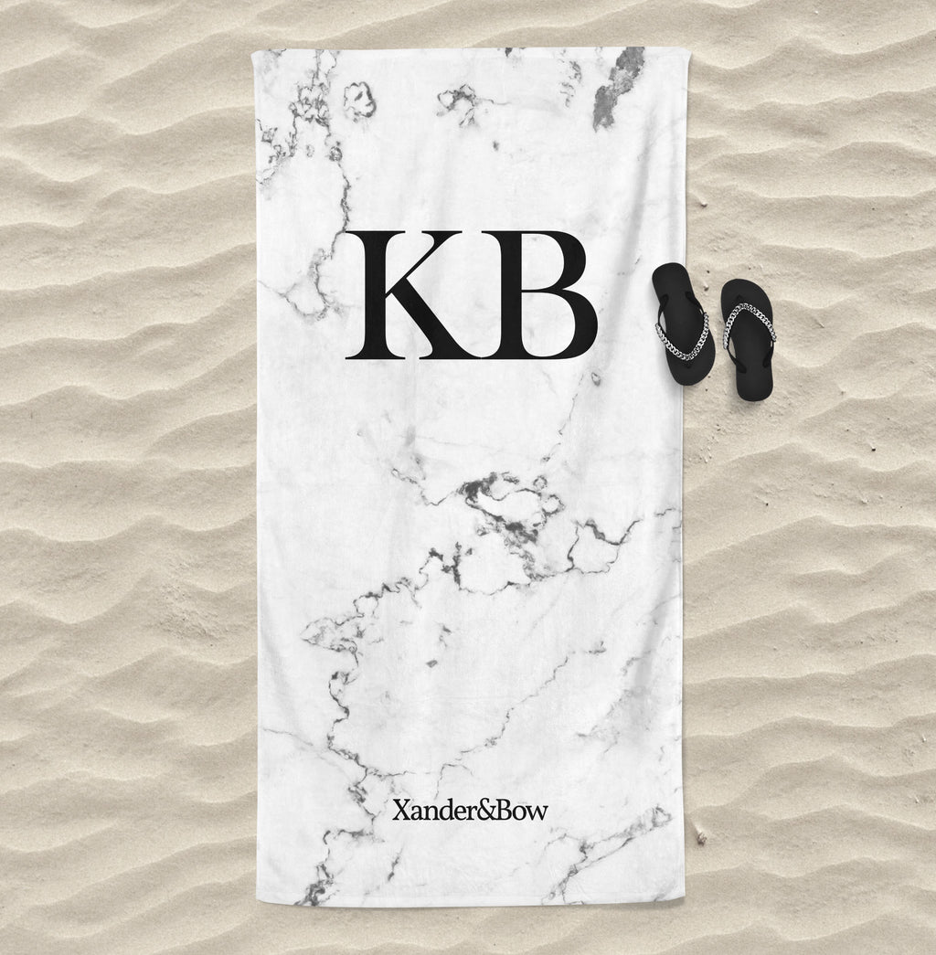 White Marble Monogrammed Beach Towel