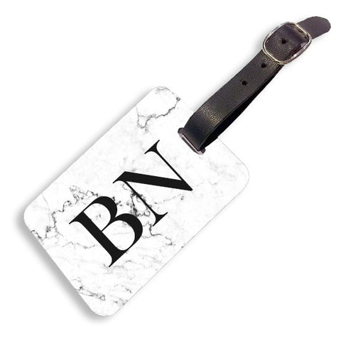 White Marble Luggage tag