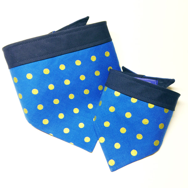 Rifle Paper Co - Blue+Gold Polka Dot Bandana