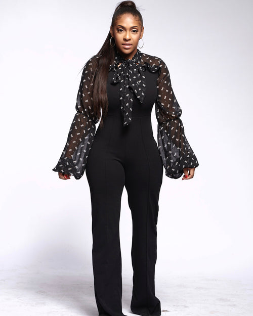Blouses Sheer Black Jumpsuit - Haute Mood