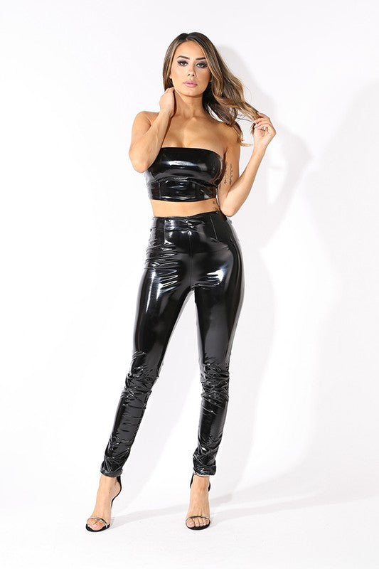 Latex Tube Top and Leggings 2-Piece Set