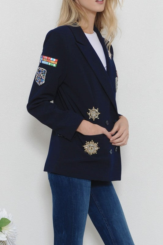 Proud to Be Of Service Sequin Patch Blazer