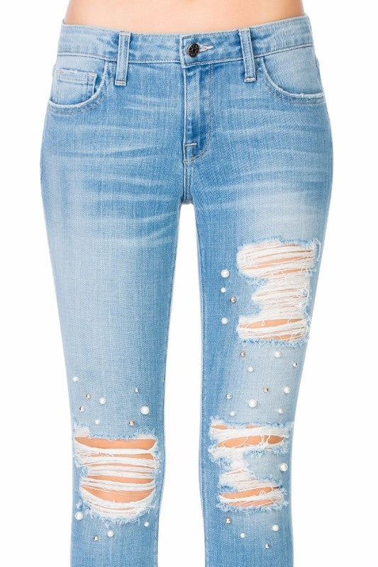 Pearl Studded Denim Jeans