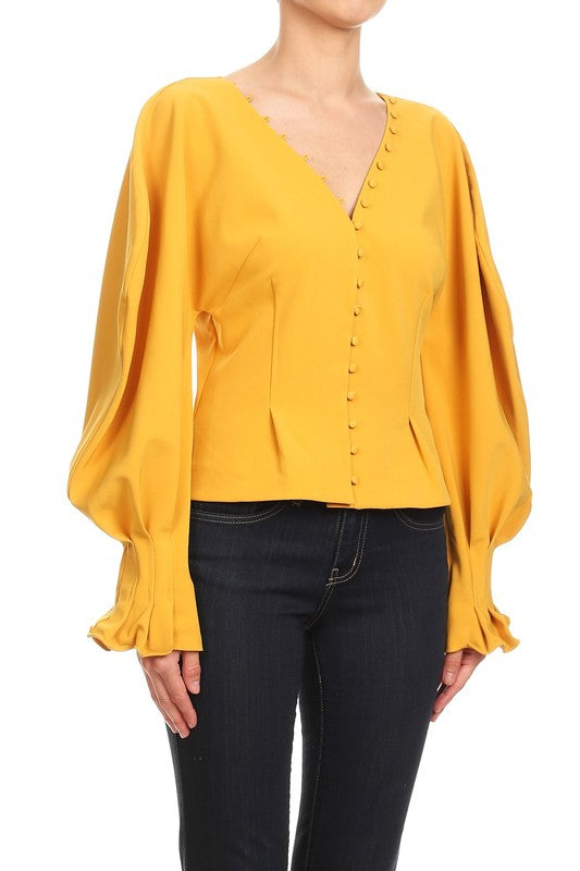 Mustard Puffy Sleeved Blouse - Haute Mood