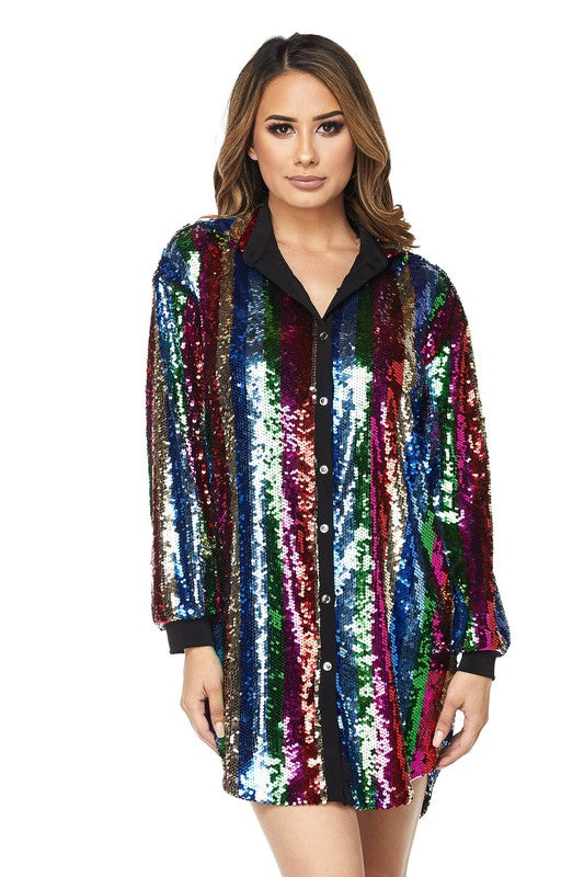Day Dream Stripe Sequin Shirt Dress
