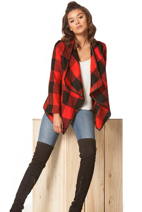 Plaid Drape Cardigan - Haute Mood