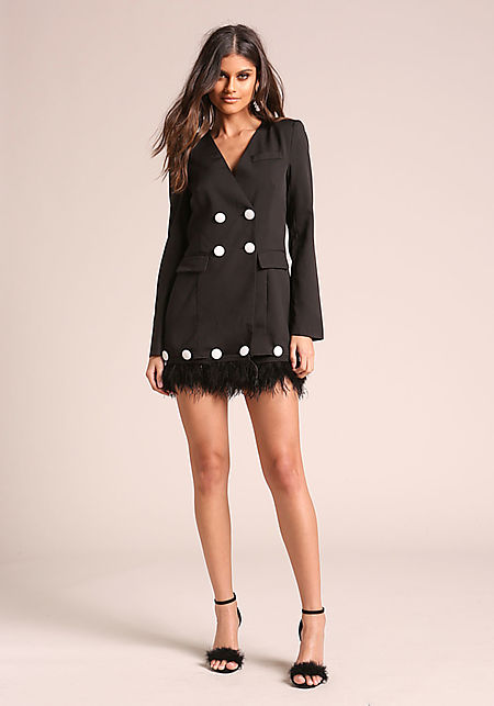 Ruffle My Feathers Blazer Dress - Haute Mood