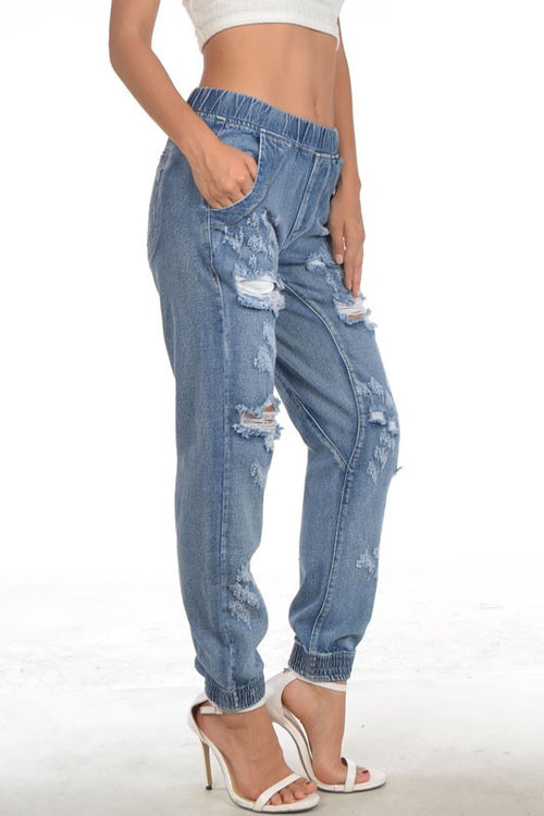 Denim in Distressed Jogger Pants - Haute Mood