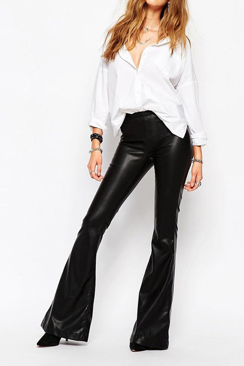 Leather Look Bell Bottom Pants - Haute Mood