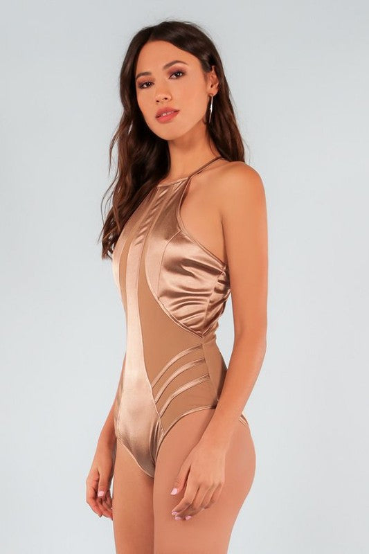 Metallic Fabric Style-Lined Swimwear - Haute Mood