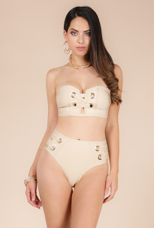Sand Eyelet Lace-Up Two Piece Bandage Swimsuit - Haute Mood