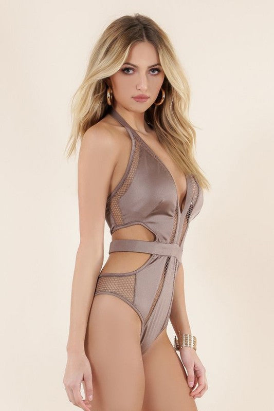 Fabric x Honeycomb Mesh Swimwear Bodysuit - Haute Mood