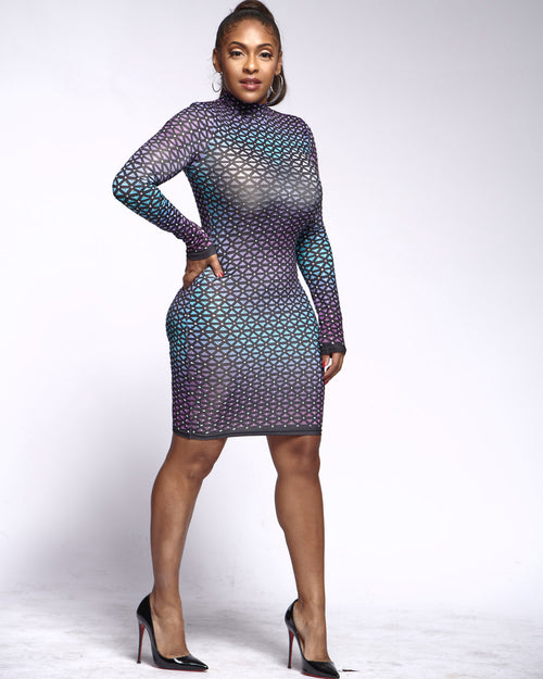 Enough Said Rhinestone Bodycon Dress - Haute Mood