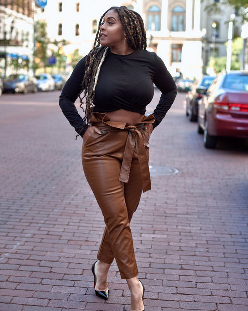 High Waisted Ankle Fit Leather Pants - Haute Mood