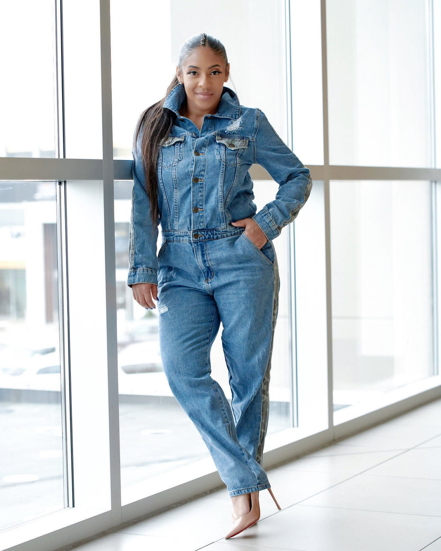 Denim Camo Utility Jumpsuit - Haute Mood