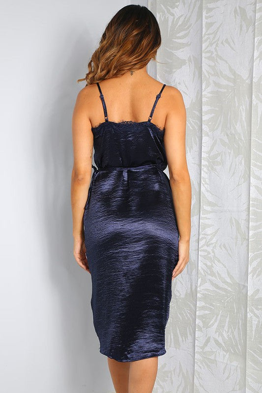 After Midnight Satin Lace Trim Dress - Haute Mood
