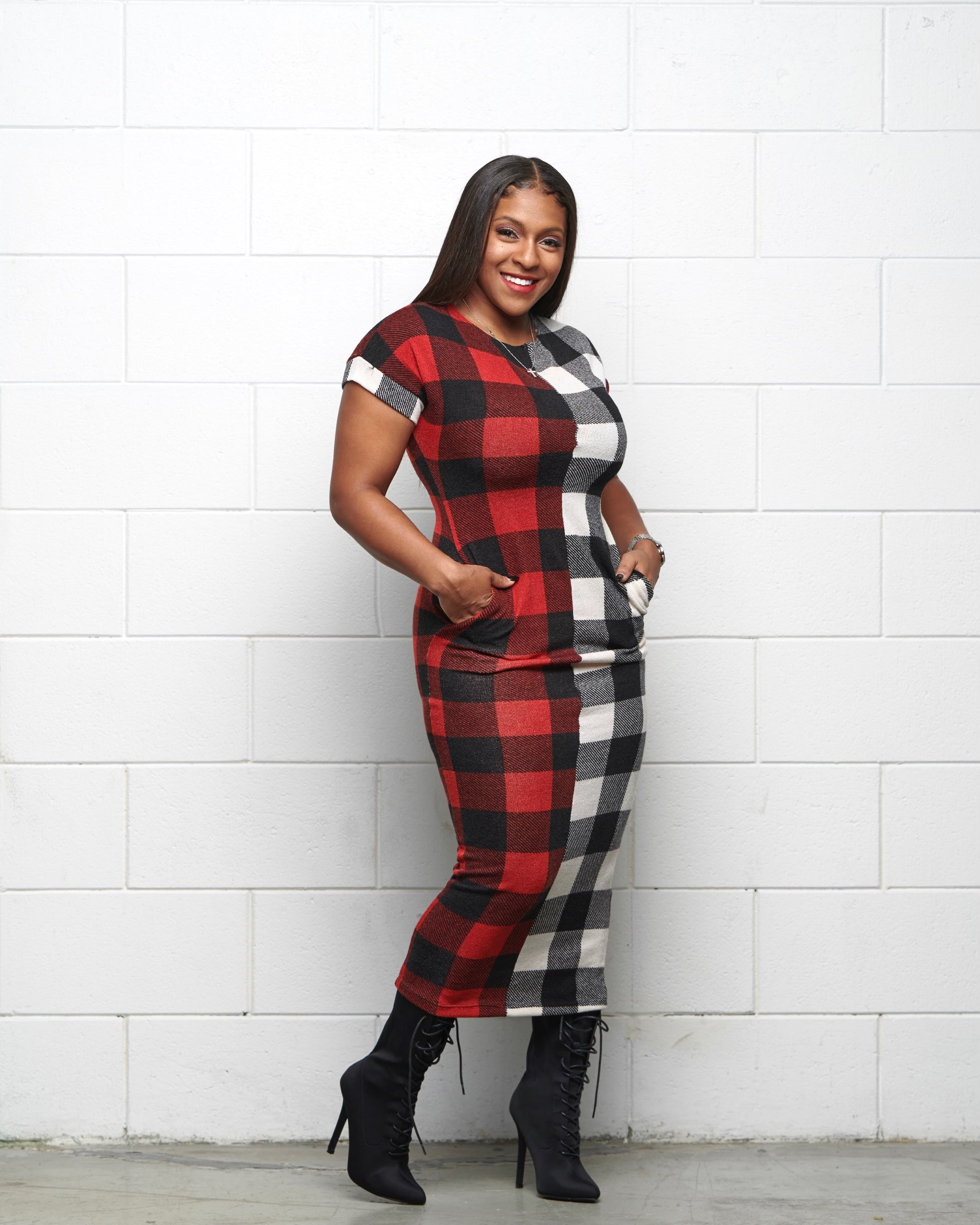 Check On It Plaid Maxi Dress - Haute Mood