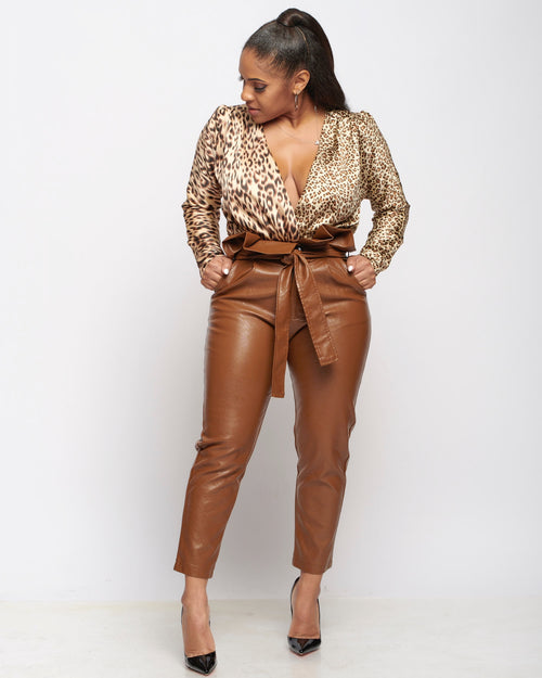 Cheetah Leopard Crossover Blouse Wrap Bodysuit - Haute Mood