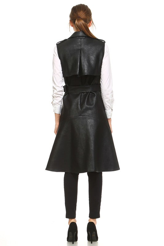 Sleeveless Leather Trench Vest - Haute Mood