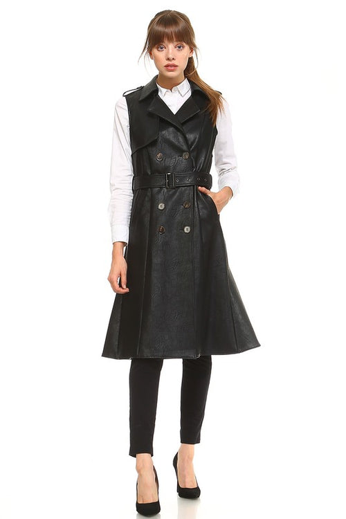 Sleeveless Leather Trench Vest