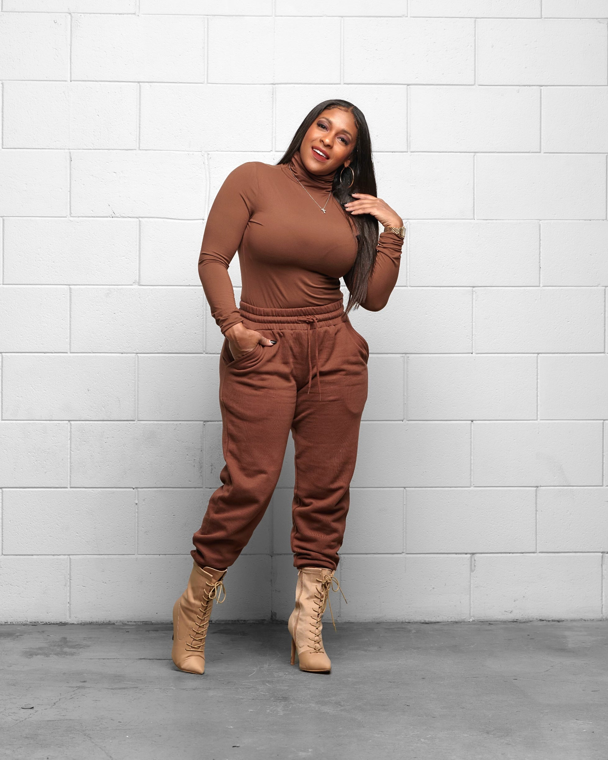 Casually Cute Camel 2-Piece Jogger Set - Haute Mood