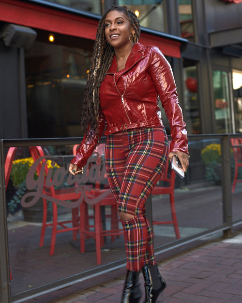Red Plaid Cut Out Knee Leggings - Haute Mood
