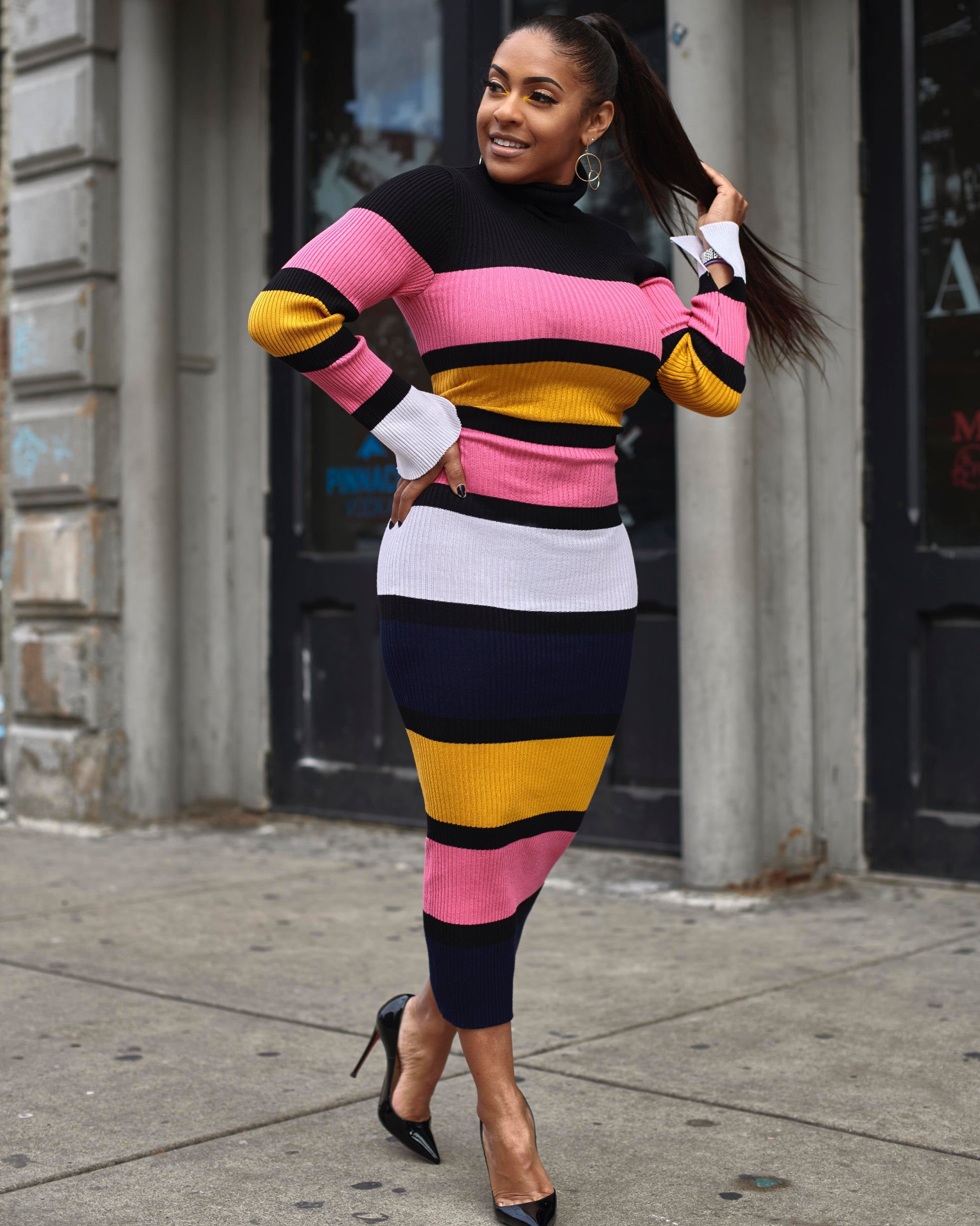 Striped Colorblock Knit Dress - Haute Mood