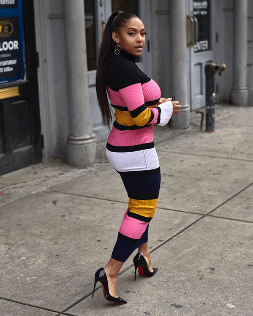 RESTOCK PRE-ORDER WILL SHIP 11/29 Striped Colorblock Knit Dress - Haute Mood