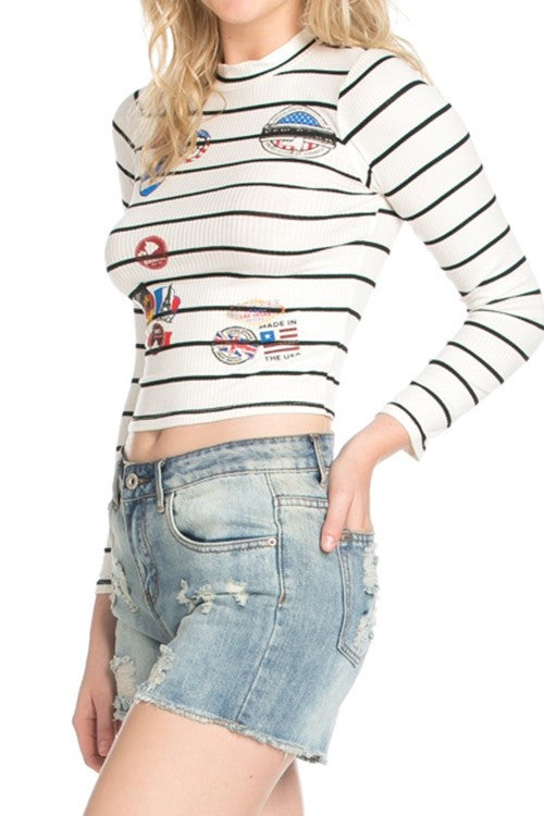 Patch and Go Striped Top - Haute Mood
