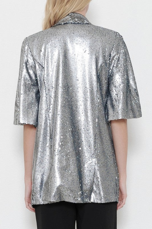 Gunmetal Sequin Blazer - Haute Mood