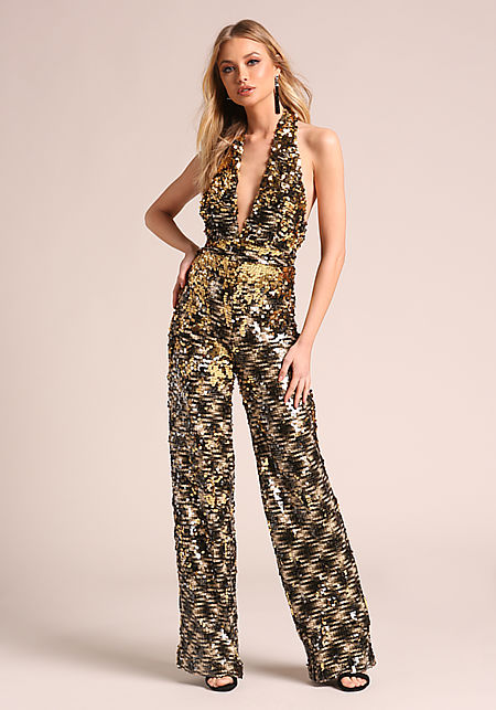 Glamour in Gold Jumpsuit