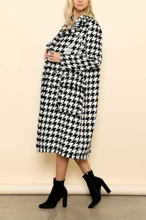 Houndstooth Embellished Double Breasted Coat - Haute Mood
