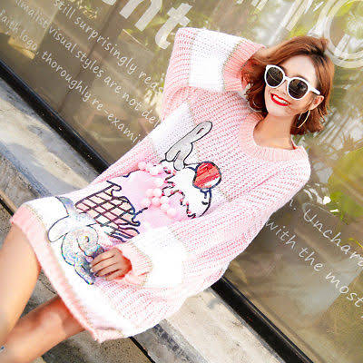 Pink Ice Cream Sequin Sweater Dress