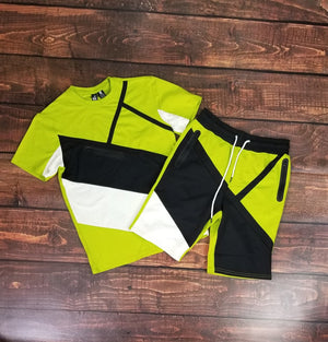 Color Block Short Set