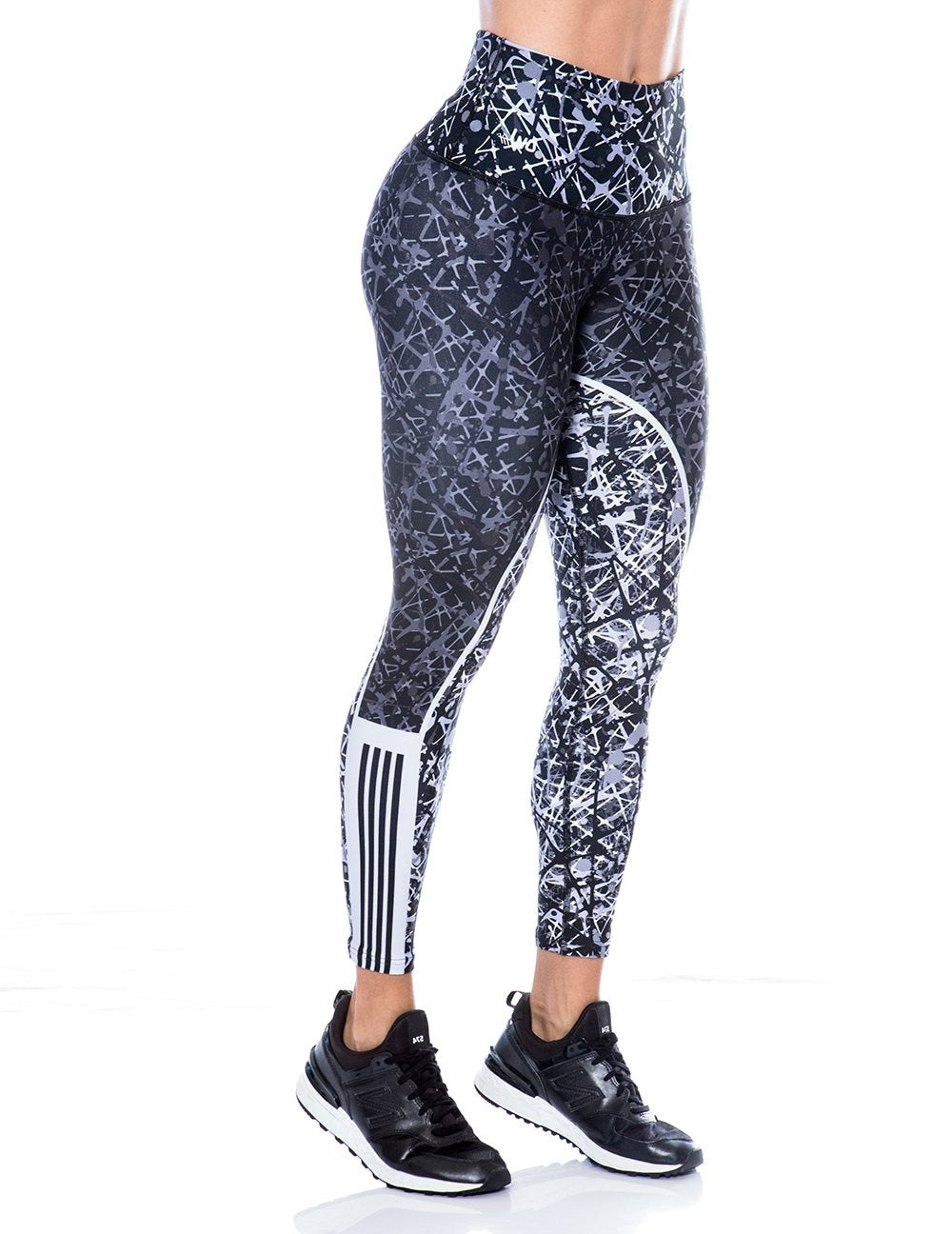 Wired black grey and white leggings - Bestyfit